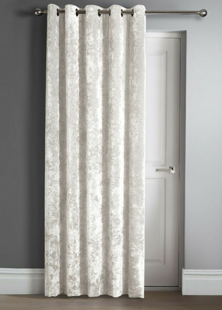 "Contemporary Crushed Velvet Ring Top Eyelet One Door Curtain Panel, 46"" X 84"" Cream"